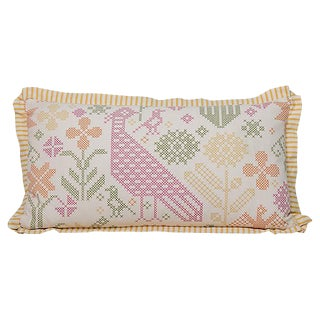 Faux Needlepoint Lumbar Pillow For Sale