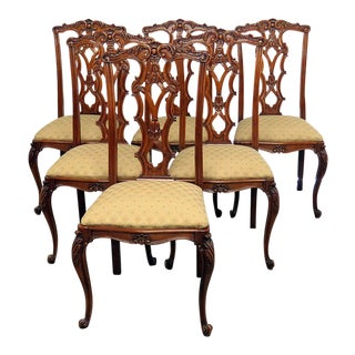 Belgian Oak Victorian Dining Chairs - Set of 6