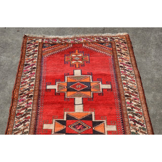 """Textile Vintage Hand Knotted Persian Kazak Area Rug - 3' 11"""" X 7' 6"""" For Sale - Image 7 of 10"""