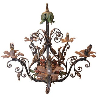 French Painted Candle Chandelier For Sale