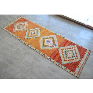 Hand-Knotted Turkish Runner Rug. Low Pile Herki Short Runner 3′3″ × 10′ Preview