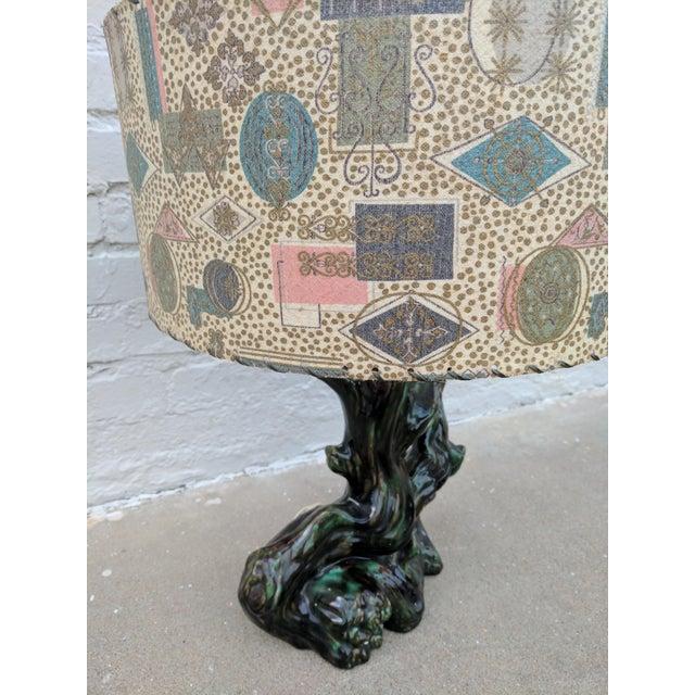 A Pair of Mid Century Modern Ceramic Stump Lamp With Printed Fiberglass Shade - Image 4 of 6