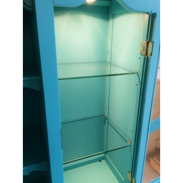 American Turquoise Chippendale Style Oak Hutch - Image 9 of 10