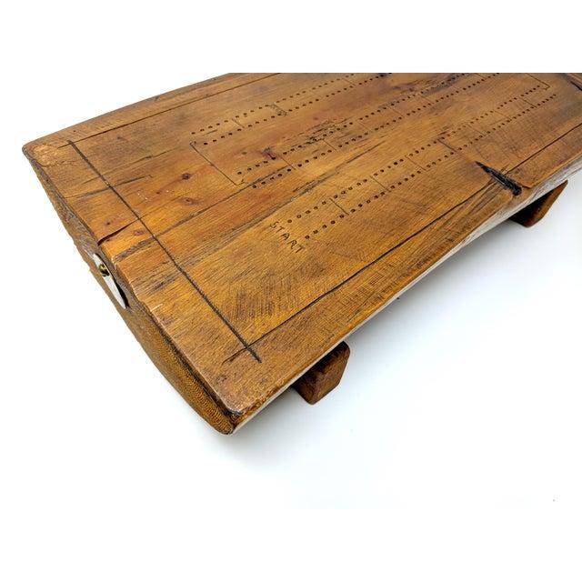 Folk Art Vintage Folk Art Half-Log Cribbage Board For Sale - Image 3 of 10