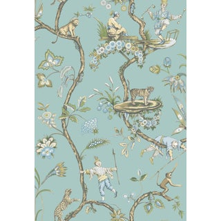 Red by Scalamandre Peel & Stick Wallpaper, Chinoise Exotique, Robin's Egg For Sale