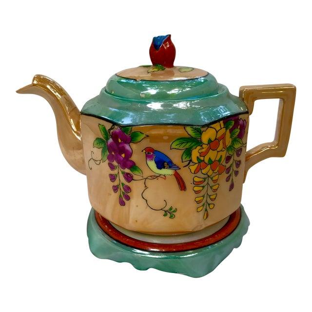 Art Deco Japanese Lustreware Teapot on Base With Bird Theme - 3 Piece Set - Image 1 of 7
