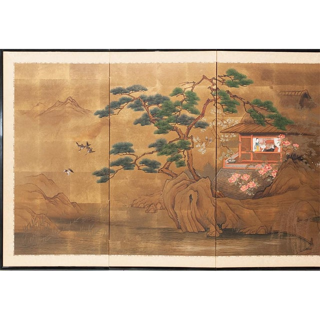 Gorgeous Japanese 4-Panel Byobu depicting a lovely landscape scene with mountains, river, trees, flying ducks, big pine...