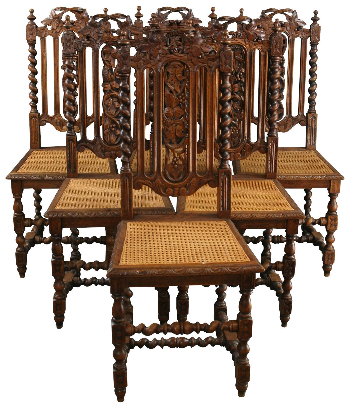 Attractive 1880 French Hunting Dining Chairs   Set Of 6