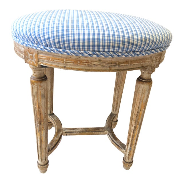 19th C. French Gilt Wood Stool For Sale