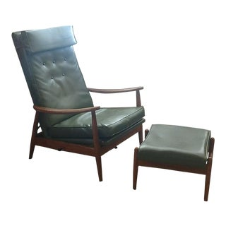Milo Baughman Reclining Lounge Chair and Ottomon For Sale