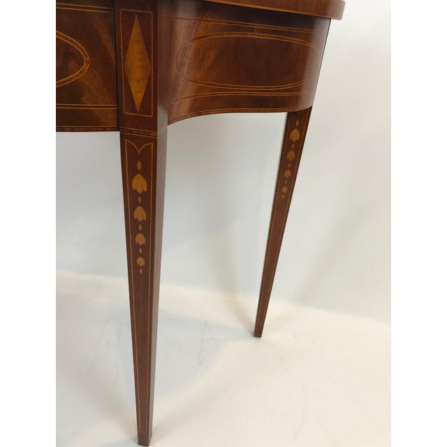 Serpentine Flame Mahogany and Inlaid Console Table For Sale In Philadelphia - Image 6 of 10