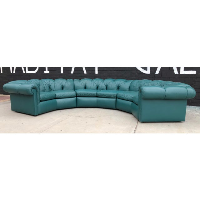 Leather 1970's Tufted Leather A. Rudin Circular Sectional Sofa For Sale - Image 7 of 10