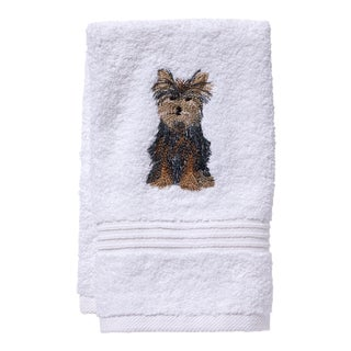 Yorkie Dog Guest Towel White Terry, Embroidered For Sale