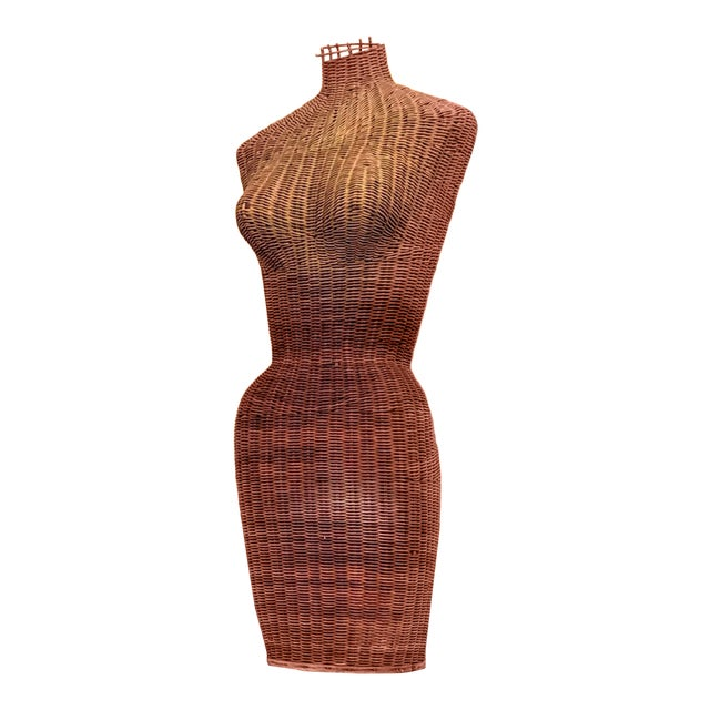 1950s Boho Chic Wicker Sculptural Mannequin For Sale