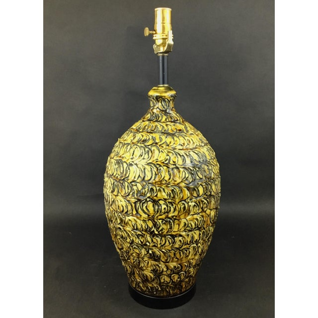 Mid-Century Modern 1970s Italian Pottery Lamp in Yellow and Black For Sale - Image 3 of 8