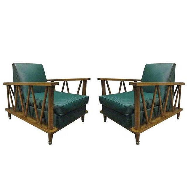 Pair of French Cerused Oak Lounge Chairs For Sale - Image 9 of 9