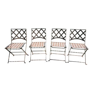 Vintage Iron Folding Garden / Bistro Chairs - Set of 4
