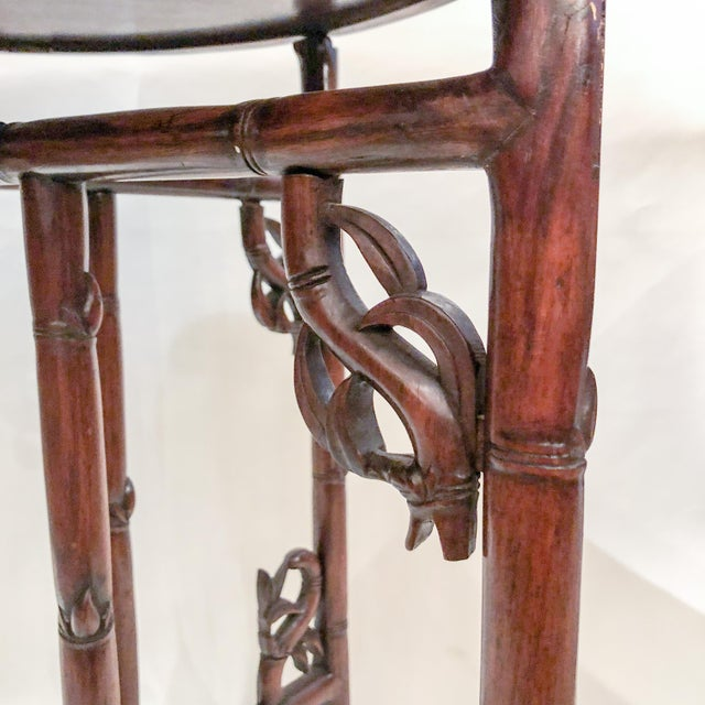 Late 19th Century Antique English Carved Teakwood Tray with Stand, Handsome Grain and Color, Circa 1880 For Sale - Image 5 of 6
