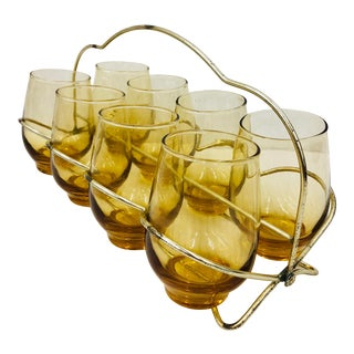 Vintage Amber Cocktail Glasses & Caddy For Sale