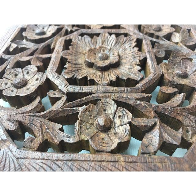 Vintage Hand-Carved Wood Trivet - Image 4 of 4