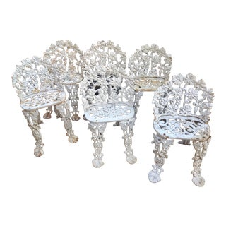Vintage Cast Iron Garden Chairs - Set of 6 For Sale