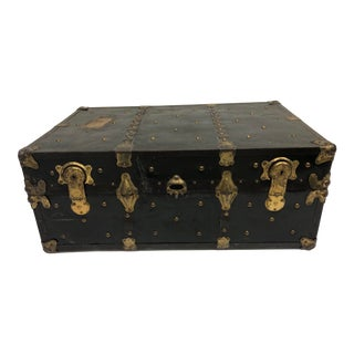 Vintage Industrial Black Steamer Trunk - Great Coffee Table Size For Sale