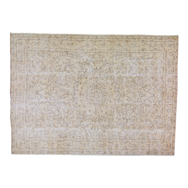 "Vintage Turkish Hand Knotted Whitewash Organic Wool Fine Weave Rug,7'x9'8"" For Sale"