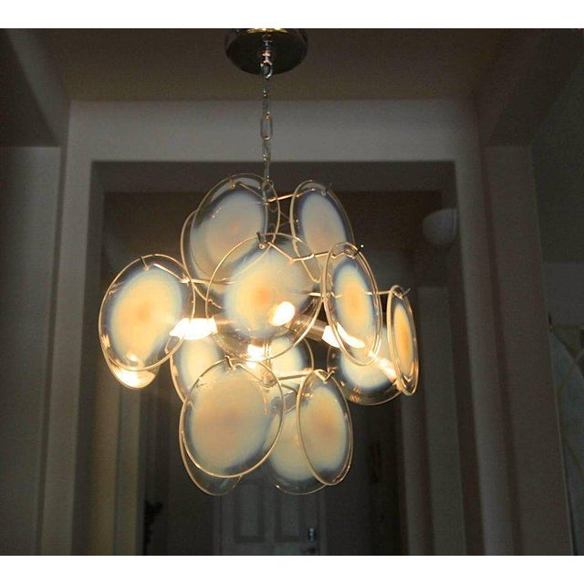 Blue Vistosi Murano Clear & Opalescent Glass Disc Chandelier Pendant Light For Sale - Image 8 of 13