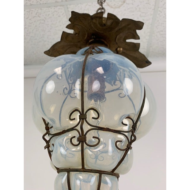 Burnt Umber Smoked Glass Single Light Flush Mount Fixture For Sale - Image 8 of 9