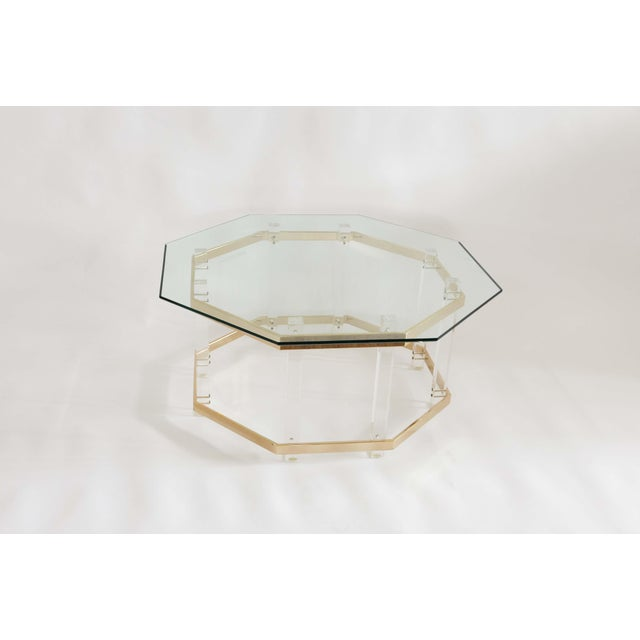 1960s 1960s Art Deco Charles Hollis Jones Brass and Lucite Octagonal Coffee Table For Sale - Image 5 of 10