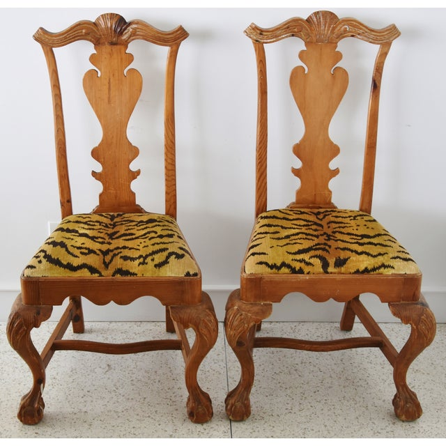Italian Scalamandre Le Tigre (Tiger) Velvet Side Chairs - Pair For Sale - Image 11 of 13
