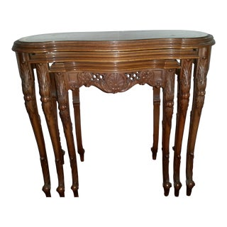 French Louis XV Hand Carved With Painted Tops Nesting Tables - Set of 3 For Sale