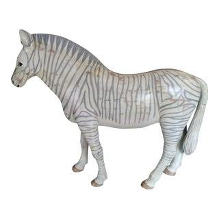 Vintage Sarreid Ltd Solid Carved Wood Grey Standing Zebra Statue For Sale
