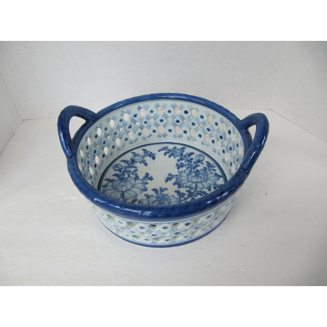 Asian Blue & White Chinoiserie Bowl With Handles For Sale - Image 3 of 4