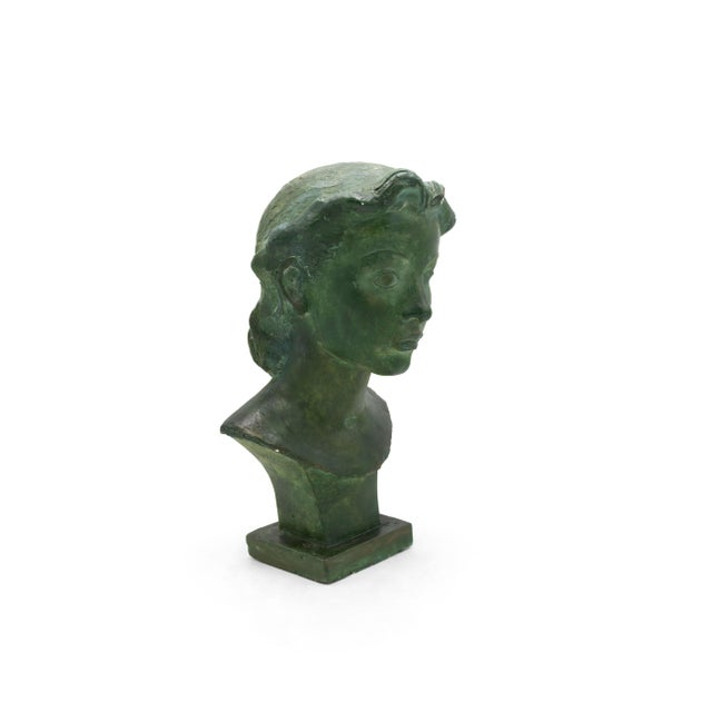 Green French Art Deco Patina Lady Bust For Sale - Image 8 of 10