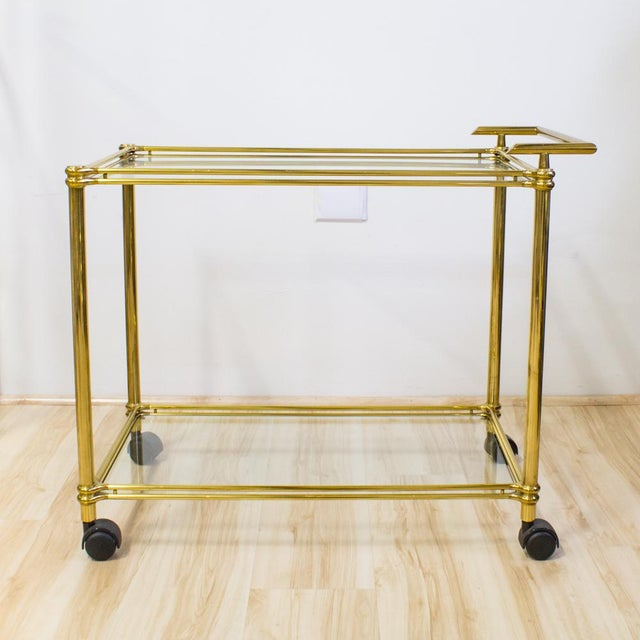 Italian Brass & Glass Bar Cart - Image 8 of 10