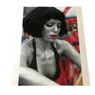 Maynard Switzer Woman in Silver Body Paint Signed Photograph For Sale