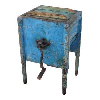 19th Century Original Blue Painted Butter Churn For Sale