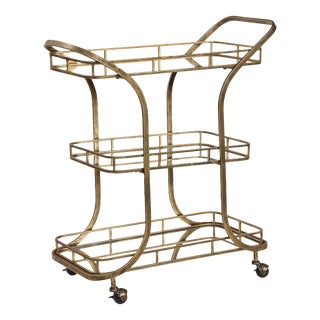Antique Brass Iron Bar Cart For Sale