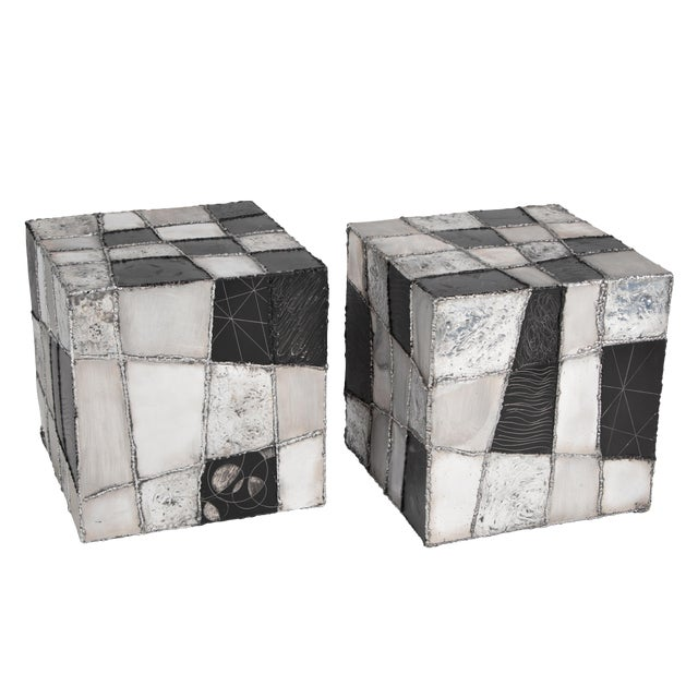 "Rare Pair of Paul Evans ""Argente"" Side Tables, Circa 1960s For Sale"