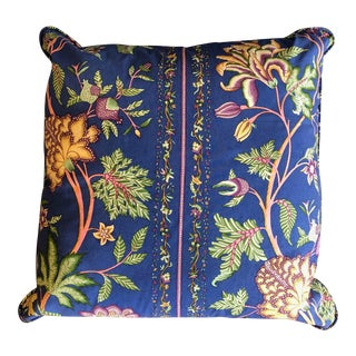 Large Floral Print Cotton Pillow For Sale