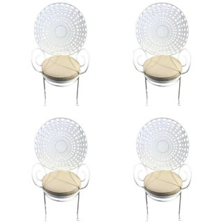 Hollywood Regency Wrought Iron Sunburst Garden Armchairs - Set of 4