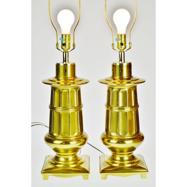 Late 20th Century Vintage Neoclassical Brass Table Lamps - a Pair For Sale - Image 5 of 13