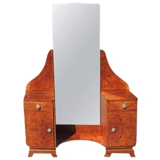 1940s French Country BurlWood Lady's Vanity For Sale