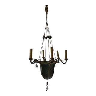 1920s Chinoiserie Tole Chandelier For Sale