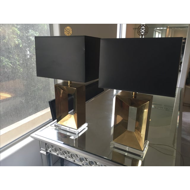 Brass & Lucite Table Lamps - A Pair - Image 3 of 11