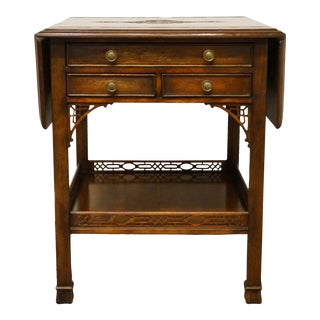 Antique Italian Provincial Solid Mahogany Ornately Carved Drop Leaf Pembroke Table For Sale