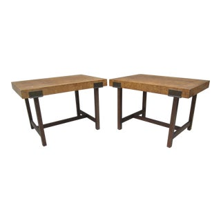 1970s Mid Century Modern Olive Burl Bronze Side Tables - a Pair For Sale
