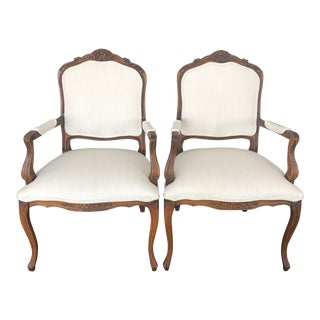 Reupholstered Vintage French Provincial Armchairs- a Pair For Sale