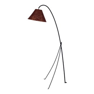 Slender Wrought Iron and Rattan Floor Lamp For Sale